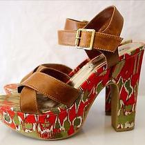 Rampage Haylie 5'' Platform Sandals Size 8 Floral Tan Straps Boho Hippie Chic Photo
