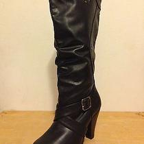 Rampage Illinois Black Knee High Rouching Buckle Strap Fashion Boots 7m Nwob Photo