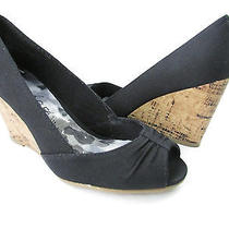 Rampage Kayson Black Canvas Wedge Womens Size 6m New in Box  Photo