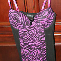 Rampage Lingerie Nightie Black With Hot Pink Size Small Photo