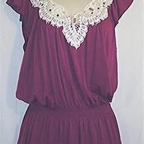 Rampage Magenta Sleeveless Blouse With Lace Neckline Beads Size Large Photo