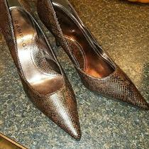 Rampage Maria Leather Embossed Choc Brn Snake Iredescent Heeled Pump Size 8.5 M Photo