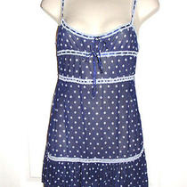 Rampage Medium Blue White Polka Dot See Through Slip Sexy Lingerie Photo