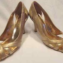 Rampage Metallic Rose Gold Pumps Shoes With Open Toe Size 8 Maycee Photo
