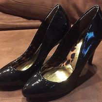 Rampage Nessa Size 8m Black Patent Heels Shoes Pumps Crinkle Pat Photo