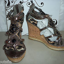 Rampage New Womens Bastain Pewter Wedge Sandals 10 M Shoes Photo