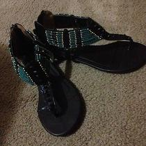 Rampage New Womens Brown Teal Beads Wedge Sandals Shoes 8.5 Medium Defect Zipper Photo