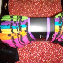 Rampagenip 6 Pr Pack  No Show Socks Blackmulti Brights Zebra Striped Sz 9-11 Photo
