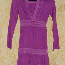 Rampage Purple Dress Hippie Revival Baby Doll Short or Long Sleeves Shirt Lace S Photo