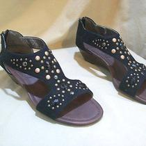 Rampage Queenie Sandals Low Wedge stud& Jeweled Detail 8 Black New Photo