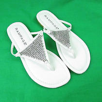 Rampage Rivera White T-Strap Jewel Accent Slide on Sandals Womens Size 8.5m Photo