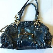 Rampage Satchel Purse Blue Chains Doctor Hand Bag Faux Leather Photo