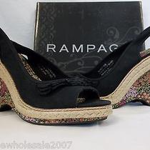 Rampage Size 9 M Blanket Black Slingbacks Wedges New Womens Shoes Photo