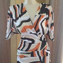 Rampage Stretch Tan Back Ruched Empire Waist Blouse Top Medium Free Ship (I-8) Photo