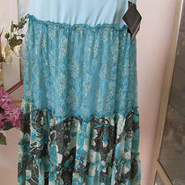 Rampage Sz 5  Silkglitter & Lace Boho Chic Aqua Flowing Skirt Photo
