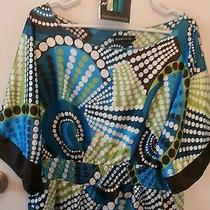 Rampage Sz L Silky Feel Tunic W/ Elastic Waist Blue Green W/ Dots-Free Necklace Photo