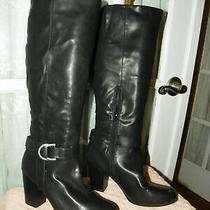 Rampage Ursula Women's Size 8 M Black High Heeled Knee Boots Faux Leather Photo