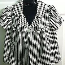 Rampage Women's Cropped Black and White Striped Jacket Size M Photo