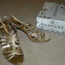 Rampage Women's Kiera Gold Silver Glitter Slingback Straps Heels Shoes 10 New Photo