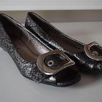 Rampage Women's Open Toe 6.5m Dressy Flats Snake Skin Silver Buckle Euc Photo