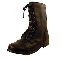Rampage Womens Black Jepson Mid-Calf Zip Faux Leather Combat Boots 6.5 70 Photo