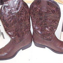 Rampage Womens Cowboy Boots Walden Size 7 M Brown Man Made Preowned Lite Wear Photo