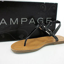 Rampage Womens Flats Piera Black Faux Leather Slingback Sandals Sz 6m Shoes Nib Photo