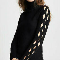 Ramy Brook Black Kimila Ribbed Lattice-Cutout Turtleneck Sweater Size X-Small Photo