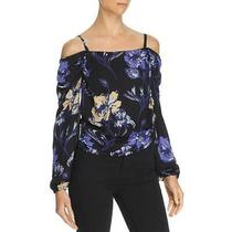 Ramy Brook Womens Black Silk Floral Cropped Blouse Top Xs Bhfo 6664 Photo