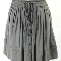 Raquel Allegra Gray Cotton Tie Button Hi-Lo Skirt 0 Photo