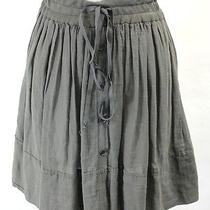 Raquel Allegra Gray Cotton Tie Button Hi-Lo Skirt 0 Photo