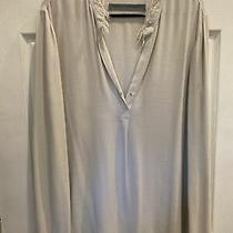 Raquel Allegra Grey Tunic Sz 2/m Deep v Front Cuff Sleeve Frayed Photo
