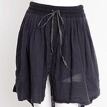 Raquel Allegra Navy Blue Linen Drawstring High Sheer Tie Mini Dress Skirt 1/s Photo