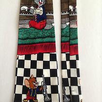 Rare 1993 Tom & Jerry Men Silk Neck Tie Saloon Piano Trumpet Music Band Jazz Photo