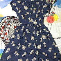 Rare 2 Xs Anthropologie Porridge Two Wheeler Shirtdress Bike Bicycle Photo