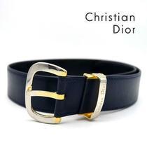 Rare a Little Christian Dior Belt Navy Gold Women Kawaii no.40153 Photo