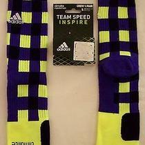 Rare Adidas Team Speed Inspire Socks 1 Pr Rg3 Robert Griffin Purple-Neon Green L Photo