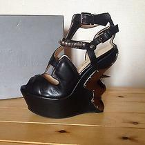 Rare Alexander Mcqueen Metal Plated Spike Wedges Photo
