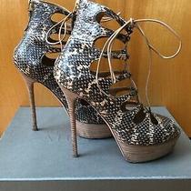Rare Alexander Mcqueen Resort 2011 Snakeskin Lace Up Sandals Size 40  Photo