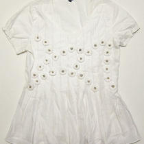 Rare Anthropologie Ashish N Soni White Shirt Peplum Skirted Flower Pin 0 Photo