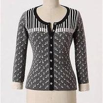 Rare Anthropologie Chopsticks Cardigan Cashmere Sweater Piano Music Notes 0 2 Xs Photo