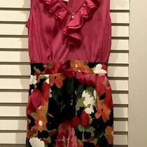 Rare Anthropologie Tabitha Pink Floral Watercolor Motif Dress 6 S M Photo