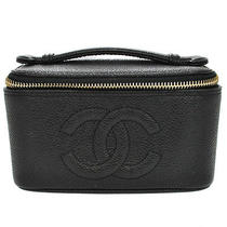 Rare Auth Chanel Cc Cosmetic Mini Vanity Hand Bag Bk Caviar Leather Vtg Ak02931 Photo