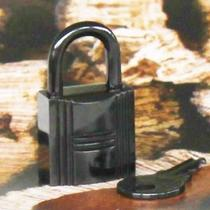 Rare Auth Hermes So Black Kelly Birkin Lock Lacquered Steel Padlock & Key New Photo