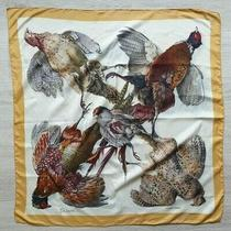 Rare Auth Vintage 60's Hermes Silk Scarf Hermes Belle Chasse Birds Yellow Photo