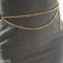 Rare  Authentic Coco Chanel Logo Metal Gold Tone Chain Belt   Rhinestone Photo