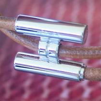 Rare Authentic Hermes Mens Silver Palladium Tournis Leather Bracelet in Dust Bag Photo