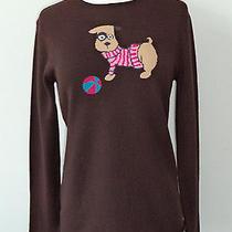 Rare Autumn Cashmere Cute Puppy Dog & Toy Ball Design Crewneck Sweater Sz  L / M Photo