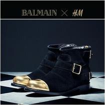 Rare Balmain Paris h&m Black Suede Gold Buckle Toe Cap Ankle Boots Us 6 Eu 37 Photo
