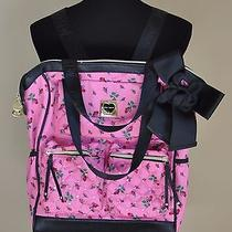 Rare Betsey Johnson Backpack Tote Bag Purse Rose Bud Diamond Quilt Blush Pink Photo